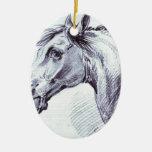 Cabeza de un caballo de Alexander Orlowski Adorno Navideño Ovalado De Cerámica