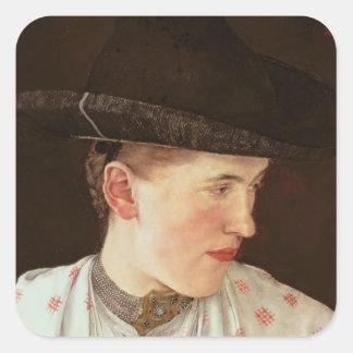 Cabeza de un chica campesino, c.1880 pegatina cuadrada