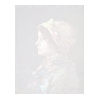Cabeza de un chica campesino joven de Grigorescu Plantilla De Membrete