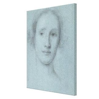 Cabeza de un chica (tiza blanco y negro en el azul impresión en lona estirada