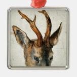 Cabeza de un ciervo de huevas adorno navideño cuadrado de metal