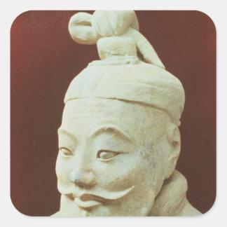 Cabeza de un guerrero, ejército de la terracota pegatina cuadrada