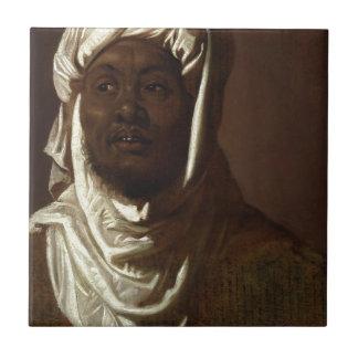 Cabeza de un hombre africano azulejo cuadrado pequeño
