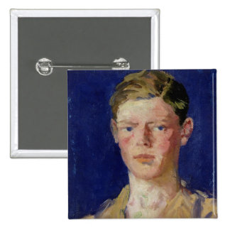 Cabeza de un hombre joven pin cuadrada 5 cm