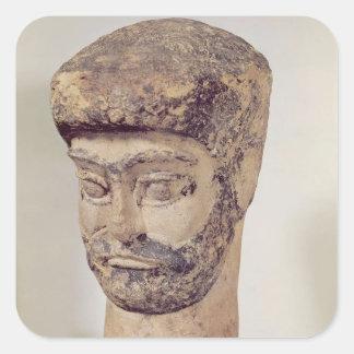 Cabeza de un hombre moldeado, c.1800 A.C. Pegatina Cuadrada