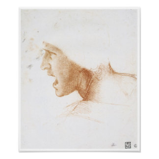 Cabeza de un hombre que grita, Leonardo da Vinci Póster