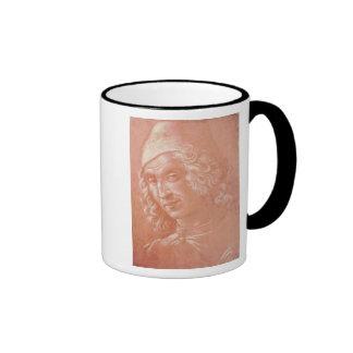 Cabeza de un hombre tazas de café