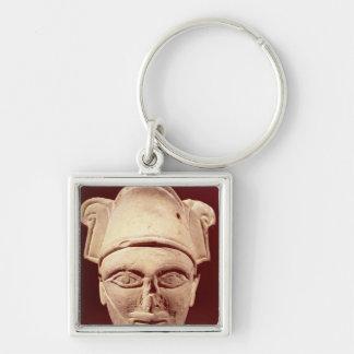 Cabeza de un jefe de Semite con influencia egipcia Llavero Cuadrado Plateado