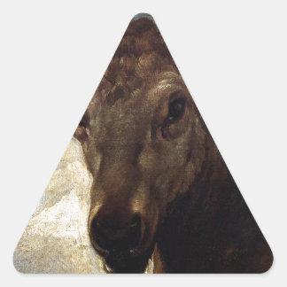 Cabeza de un macho de Diego Velázquez Pegatina Triangular
