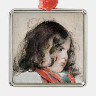 Cabeza de un niño adorno navideño cuadrado de metal