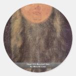 Cabeza de un niño barbudo de Albrecht Dürer Etiqueta Redonda