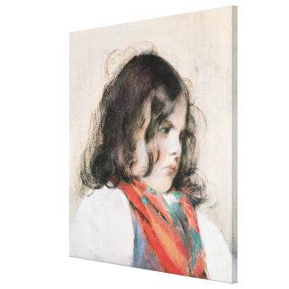 Cabeza de un niño lienzo envuelto para galerías