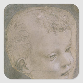 Cabeza de un niño pegatina cuadrada
