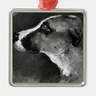 Cabeza de un perro con los oídos cortos, 1879 adorno navideño cuadrado de metal