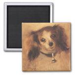 Cabeza de un perro por Renoir, arte del Imán Cuadrado
