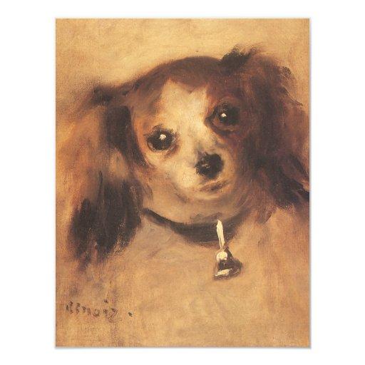 """Cabeza de un perro por Renoir, arte del Invitación 4.25"""" X 5.5"""""""