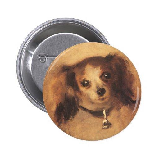Cabeza de un perro por Renoir, arte del Chapa Redonda 5 Cm