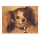 Cabeza de un perro por Renoir, arte del Postal