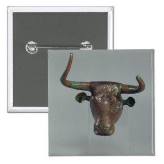 Cabeza de un toro, con la inscripción sumeria real pin cuadrado