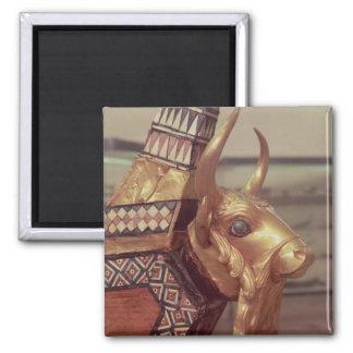 Cabeza de un toro, decoración de una arpa 2 imán cuadrado
