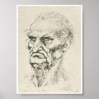 Cabeza de un viejo hombre, Leonardo da Vinci Póster