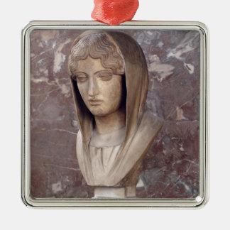 Cabeza de una mujer conocida como Aspasia de Adorno Cuadrado Plateado
