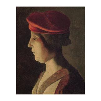 Cabeza de una mujer impresión en madera