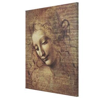 Cabeza de una mujer joven con el pelo Tousled o, L Impresión En Lona