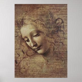 Cabeza de una mujer joven con el pelo Tousled o L Poster