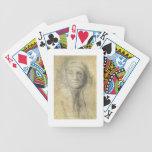 Cabeza de una mujer (lápiz en el papel) baraja de cartas