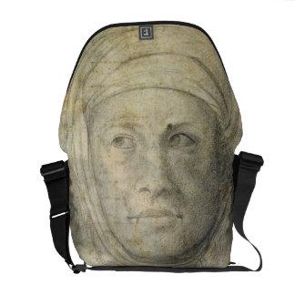 Cabeza de una mujer (lápiz en el papel) bolsas de mensajeria