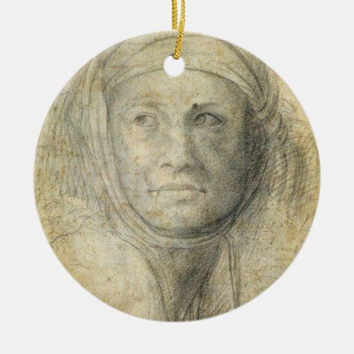 Cabeza de una mujer (lápiz en el papel) adorno redondo de cerámica