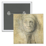 Cabeza de una mujer (lápiz en el papel) pin cuadrada 5 cm