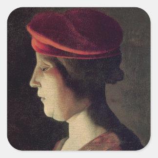 Cabeza de una mujer pegatina cuadrada