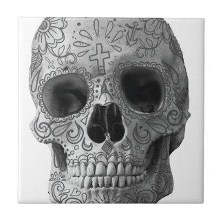 Cabeza del Azteca de la cara del horror del cráneo Azulejo Cuadrado Pequeño