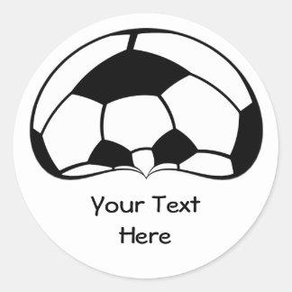 Cabeza del balón de fútbol del fútbol con las etiqueta redonda