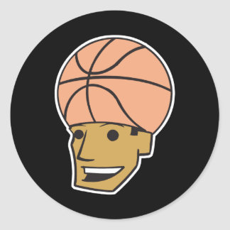 cabeza del baloncesto pegatina redonda