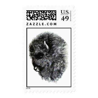 ¡Cabeza del búfalo - el búfalo americano poderoso! Franqueo