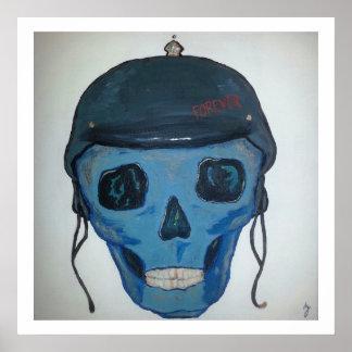 Cabeza del casco para siempre poster