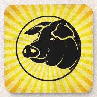 Cabeza del cerdo; Amarillo Posavasos De Bebidas