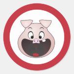 cabeza del cerdo etiquetas redondas