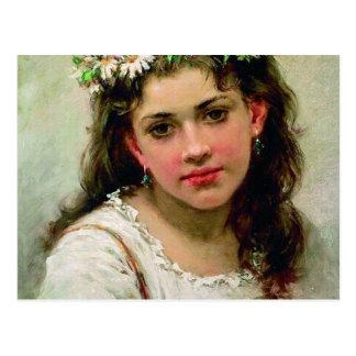 Cabeza del chica tarjetas postales