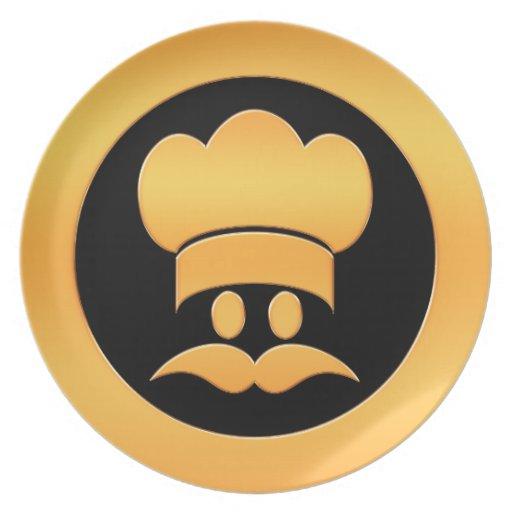 Cabeza del cocinero del oro plato