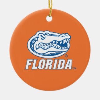 Cabeza del cocodrilo de la Florida Adorno Navideño Redondo De Cerámica