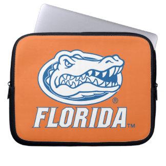 Cabeza del cocodrilo de la Florida - azul y blanco Mangas Portátiles