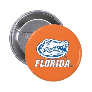 Cabeza del cocodrilo de la Florida - azul y blanco Pins