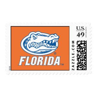 Cabeza del cocodrilo de la Florida - azul y blanco Sello