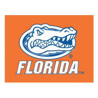 Cabeza del cocodrilo de la Florida - azul y blanco Postal