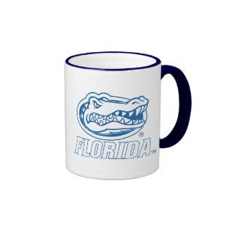 Cabeza del cocodrilo de la Florida - azul y blanco Taza De Café