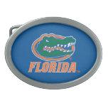 Cabeza del cocodrilo de la Florida - naranja y bla Hebillas De Cinturón Ovales